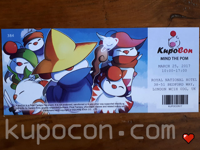 KupoCon Commemorative Ticket Mind The Pom